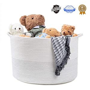 "Extra Large Cotton Rope Basket with Handles 21.7"" x 21.7"" X 13.8"" Woven Cotton Rope Storage Baskets are Ideal for Toy Baskets Laundry Baskets Blanket Baskets and Nursery Baskets"