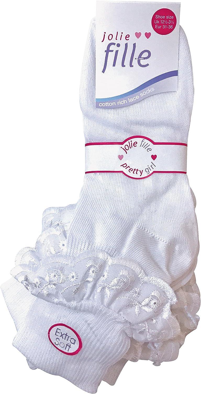 Kn/öchelsocken Baumwolle alle Gr/ö/ßen 6 Paar wei/ße M/ädchen-Socken mit Spitze