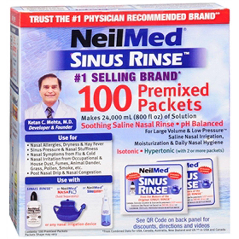 Neilmed Sinus Rinse Premixed Packets 100 Packets (4 Pack)