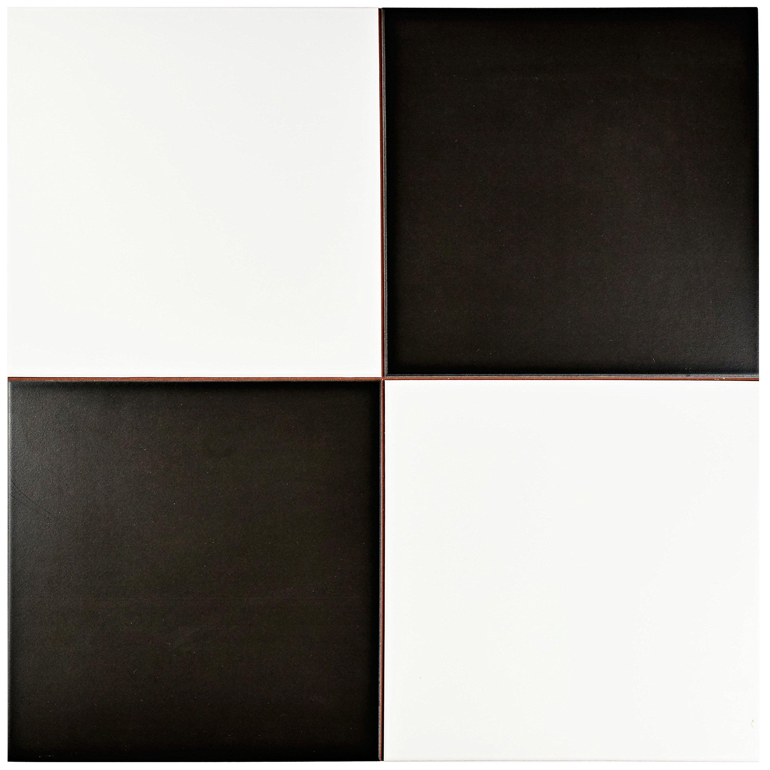 SomerTile FPECKR Noire Ceramic Floor and Wall Tile, 17.625'' x 17.625'', White/Black