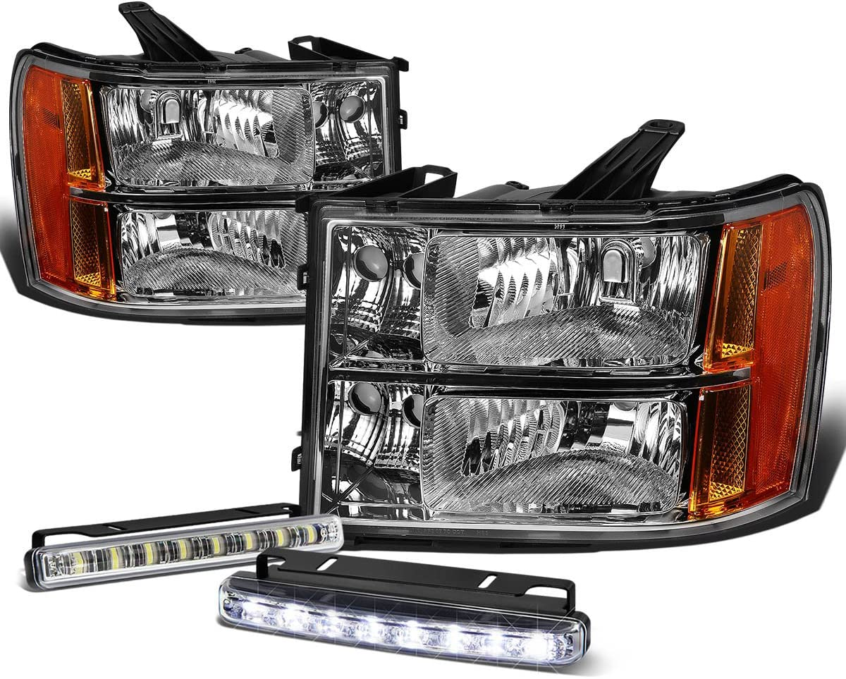 Pair of Chrome Housing Amber Corner Headlight Assembly Lamp Replacement for GMC Sierra 1500 2500 3500HD 07-13