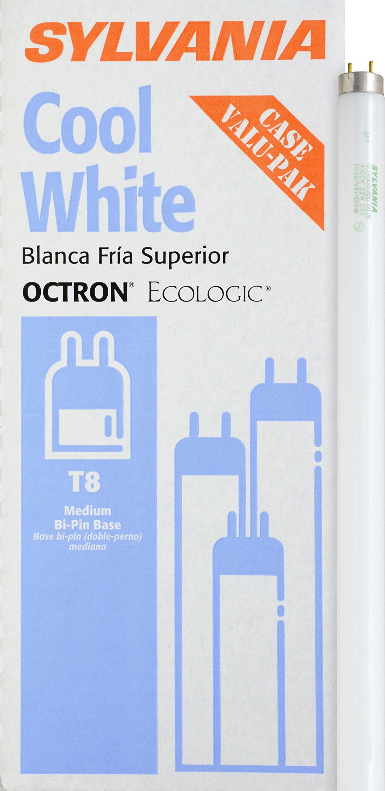 Sylvania 22433 32-watt T8 Octron Fluorescent Ecologic Lamp with Instant Start or Rapid Start, Cool White, 12-Pack