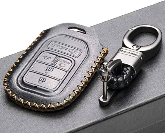 Accord Pilot CR-V Vitodeco Genuine Leather Smart Key Keyless Remote Entry Fob Case Cover with Key Chain for Honda Civic Fit 4 Buttons, Black