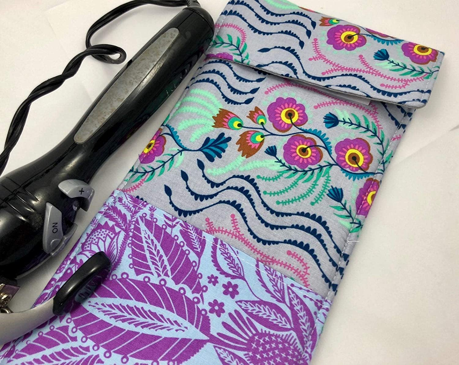 Curling Iron Holder Cover or Flat Iron Case Tambourine Lilac Purple