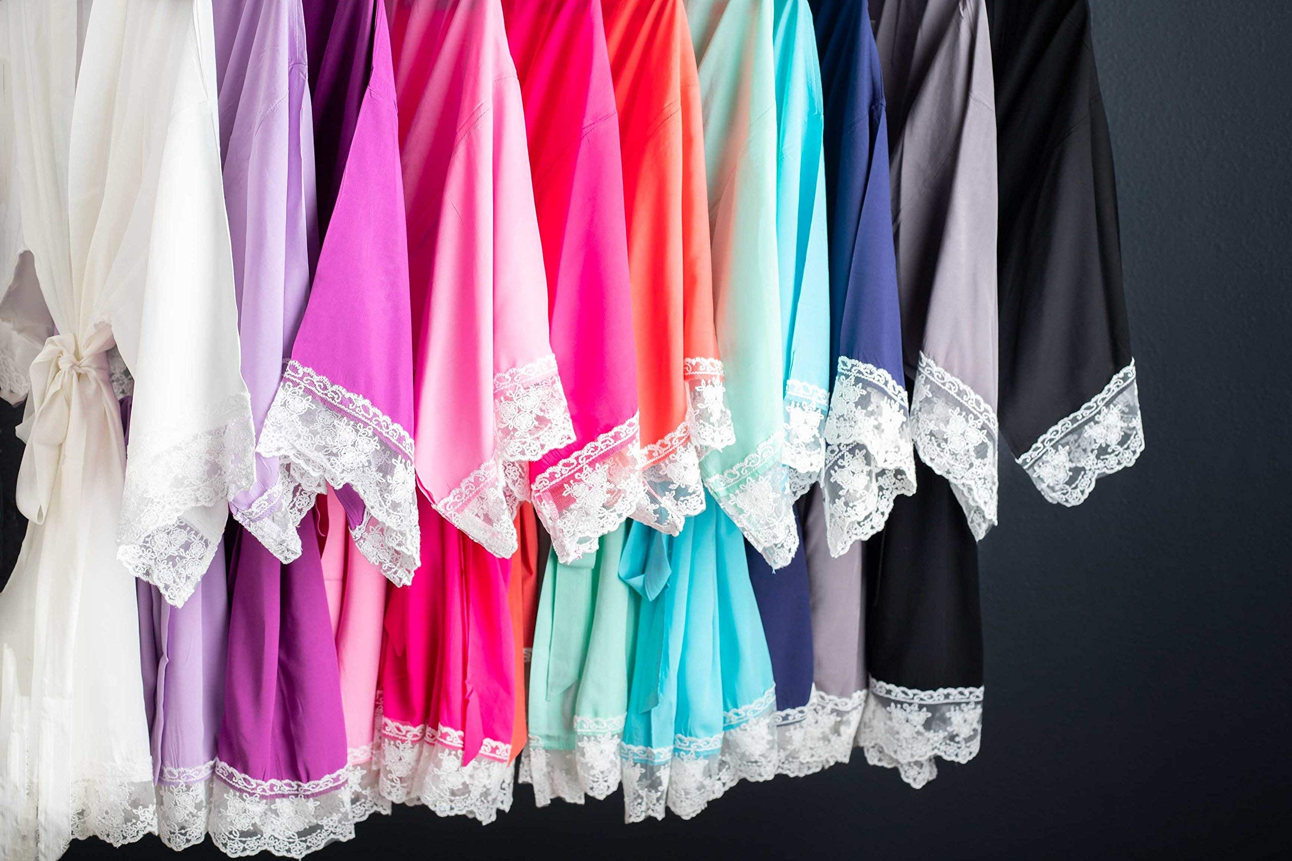 Solid Cotton Robes With White Lace Trim Available in 11 Colors
