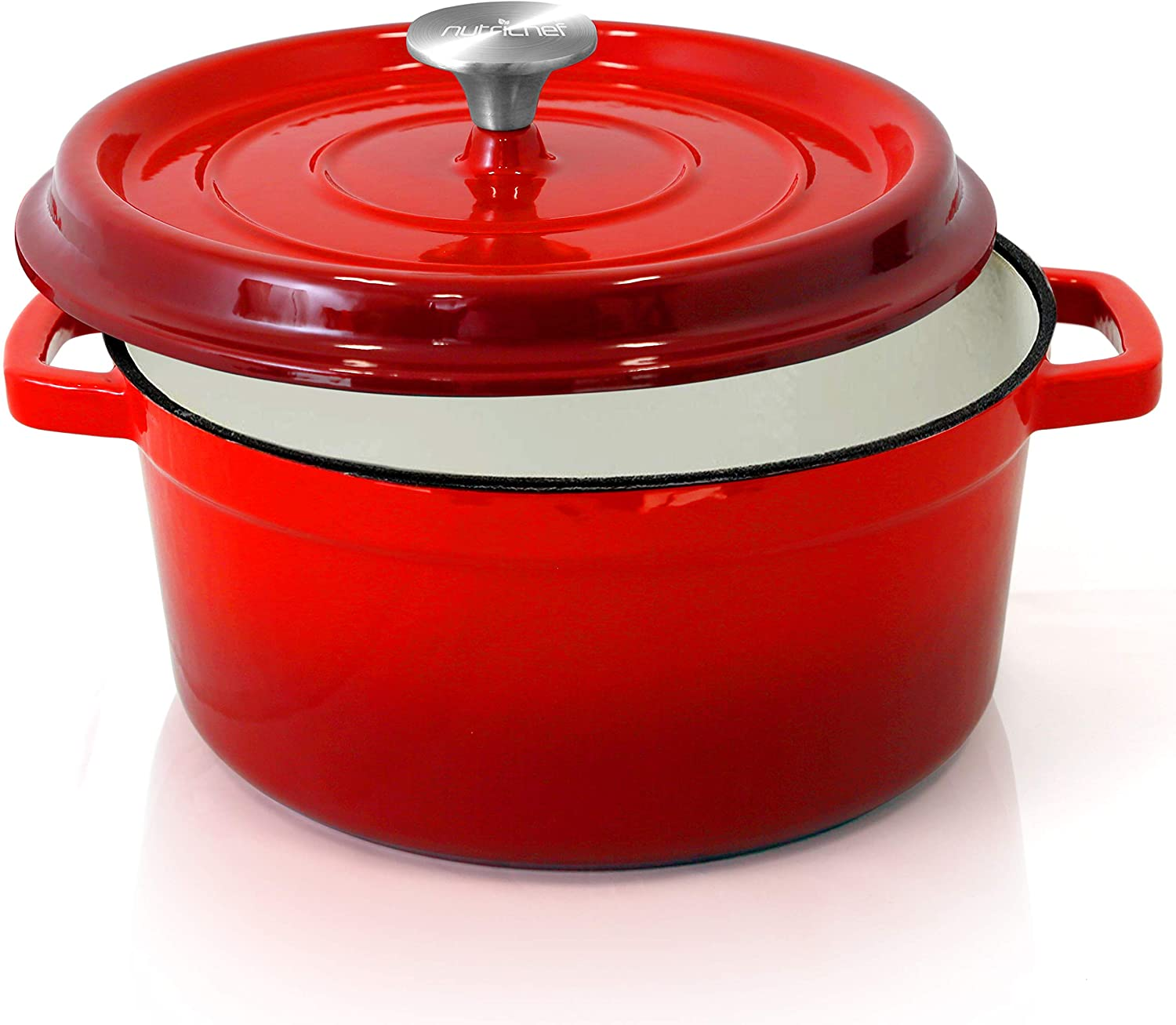 NutriChef Enameled Cast Iron Dutch Oven - 5-Quart Kitchen Round Dutch Oven Stovetop Casserole Cookware Braising Pot, Porcelain Enamel Coated Cast-Iron Baking Pots w/ Self Basting Lid - (Red)