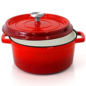 NutriChef Enameled Cast Iron Dutch Oven - 5-Quart Kitchen Round Dutch Oven Stovetop Casserole Cookware Braising Pot, Porcelain Enamel Coated Cast-Iron Baking Pots w/ Self Basting Lid - NCCIEC45 (Red)