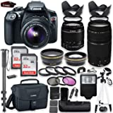 """Canon EOS Rebel T6 DSLR Camera with Canon 18-55mm IS II Lens & 75-300mm III Lens Kit + Battery Grip + Canon Case + 64GB Memory + Filters + Macros + Monopod + 50"""" Tripod + Professional DSLR Bundle"""