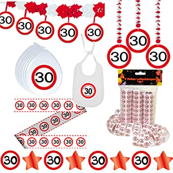 Deko Set 42 Tlg 30 Geburtstag Party Box Dekoration Glitter Girlande