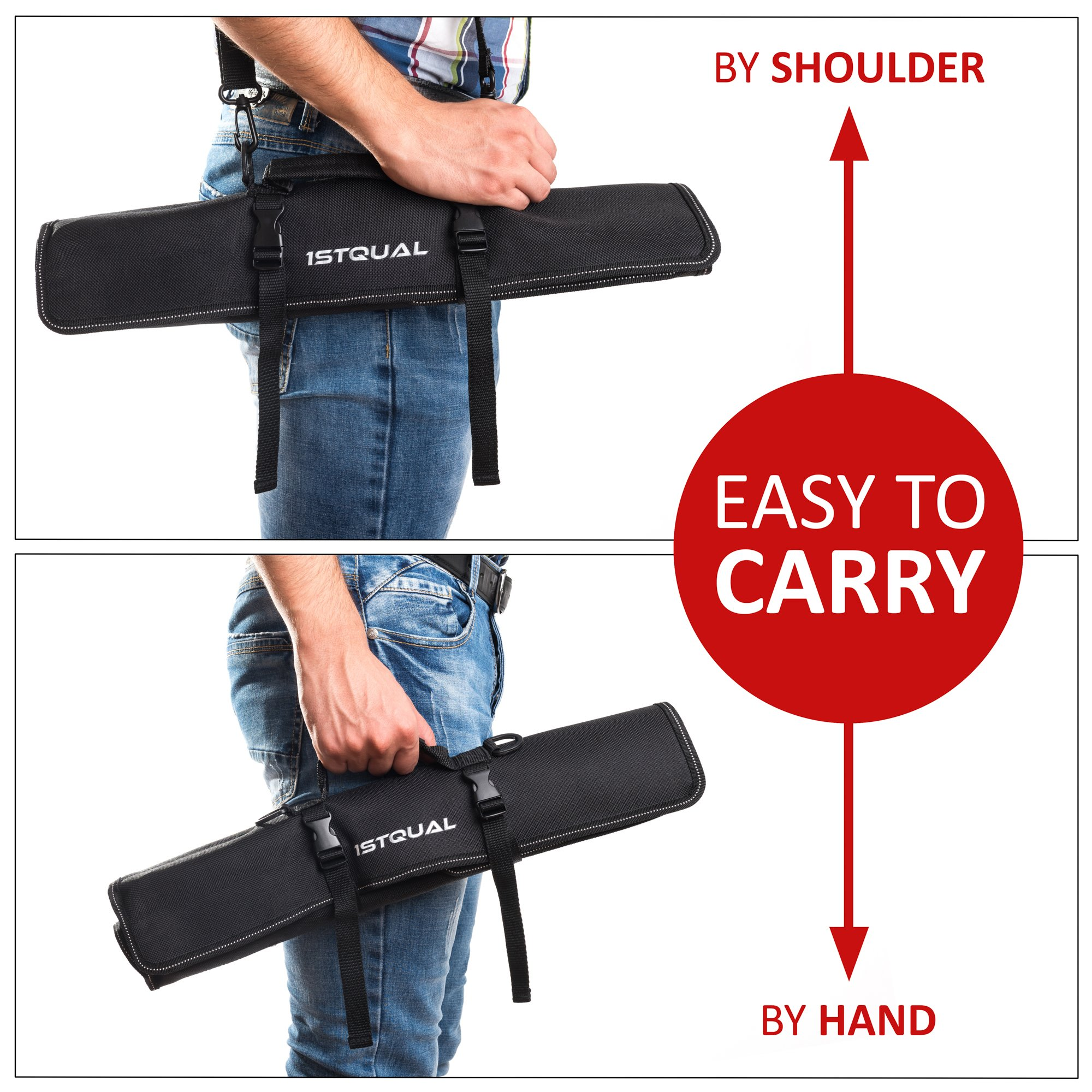 Chef Knife Bag (8 slots) – Durable and Waterproof Culinary Roll Case Utensil With Shoulder Strap and Holder – Knives Organizer For Chefs and Students + eBook Bonus + Extra-Warranty by 1stqual by 1stqual (Image #5)