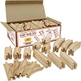 Wooden Train Track 52 Piece Set - 18 Feet Of Track Expansion And 5 Distinct Pieces - 100% Compatible with All Major Brands In