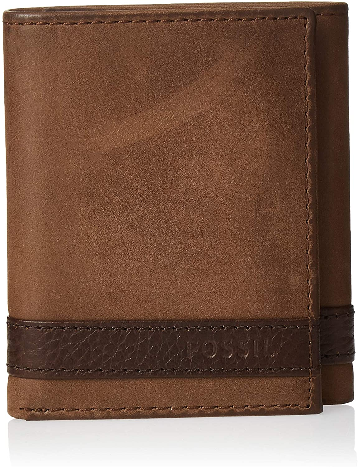 Fossil Original ML3645200 Brown Quinn Trifold Leather Men/'s Wallet