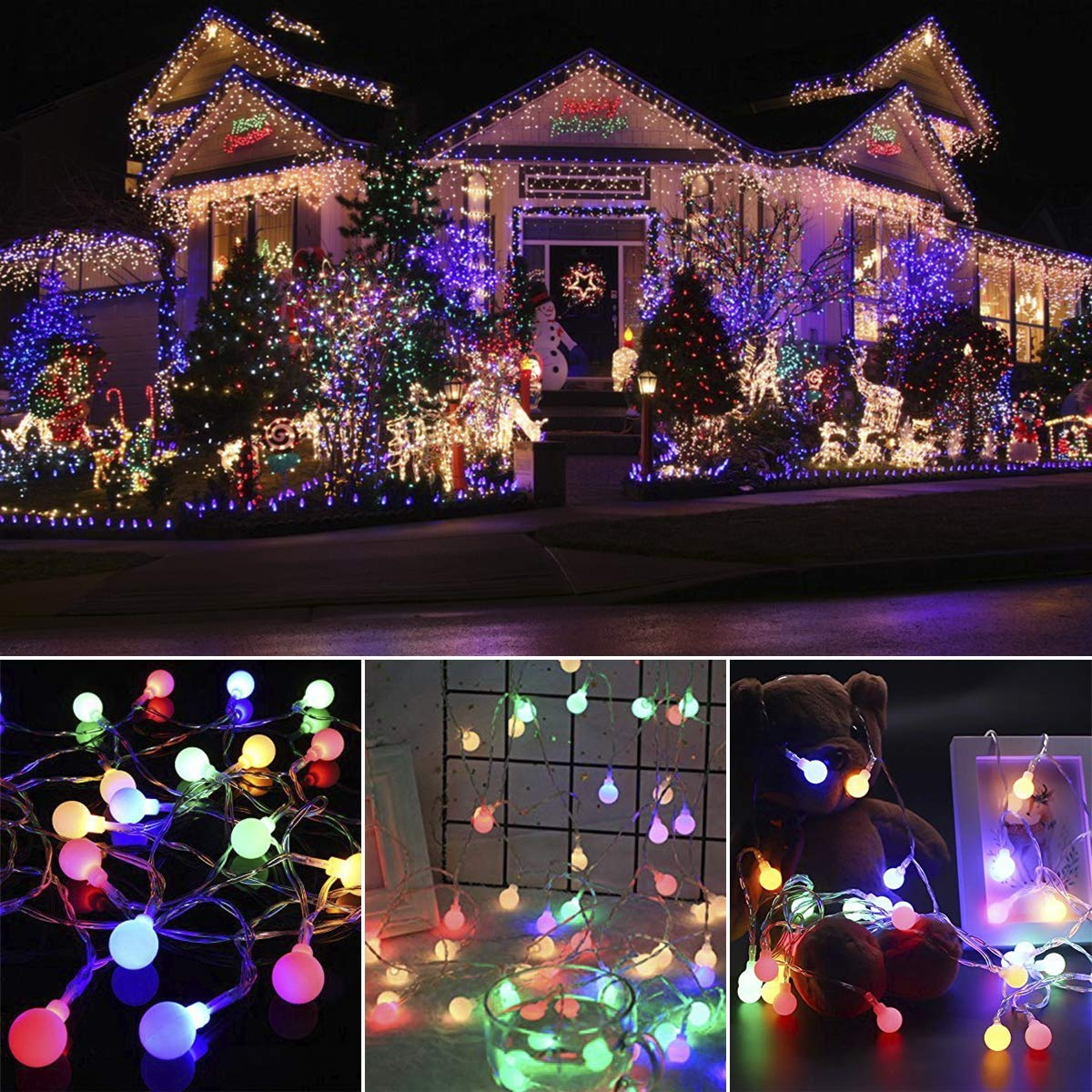 LED Globe String Lights EVXVE 100 Colored Mini Lights 8 Modes Waterproof Fairy Lights For Indoor & Outdoor Home Garden Patio Party Holiday Christmas Decoration (44Ft )