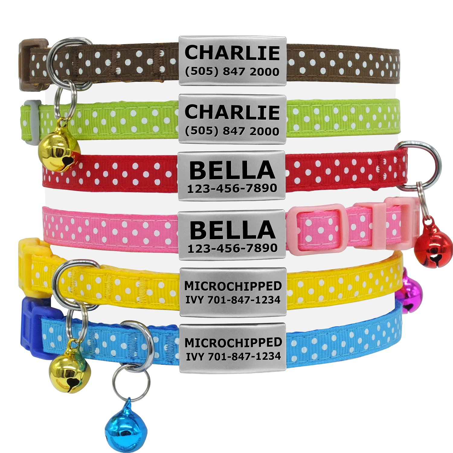 Pet Supplies : Vcalabashor Custom Cat Collars with Jingle Bell/Stainless Steel No Noise Slide-On Tags On Collar/3 Lines Personalized Text/Polka Dot Pattern ...