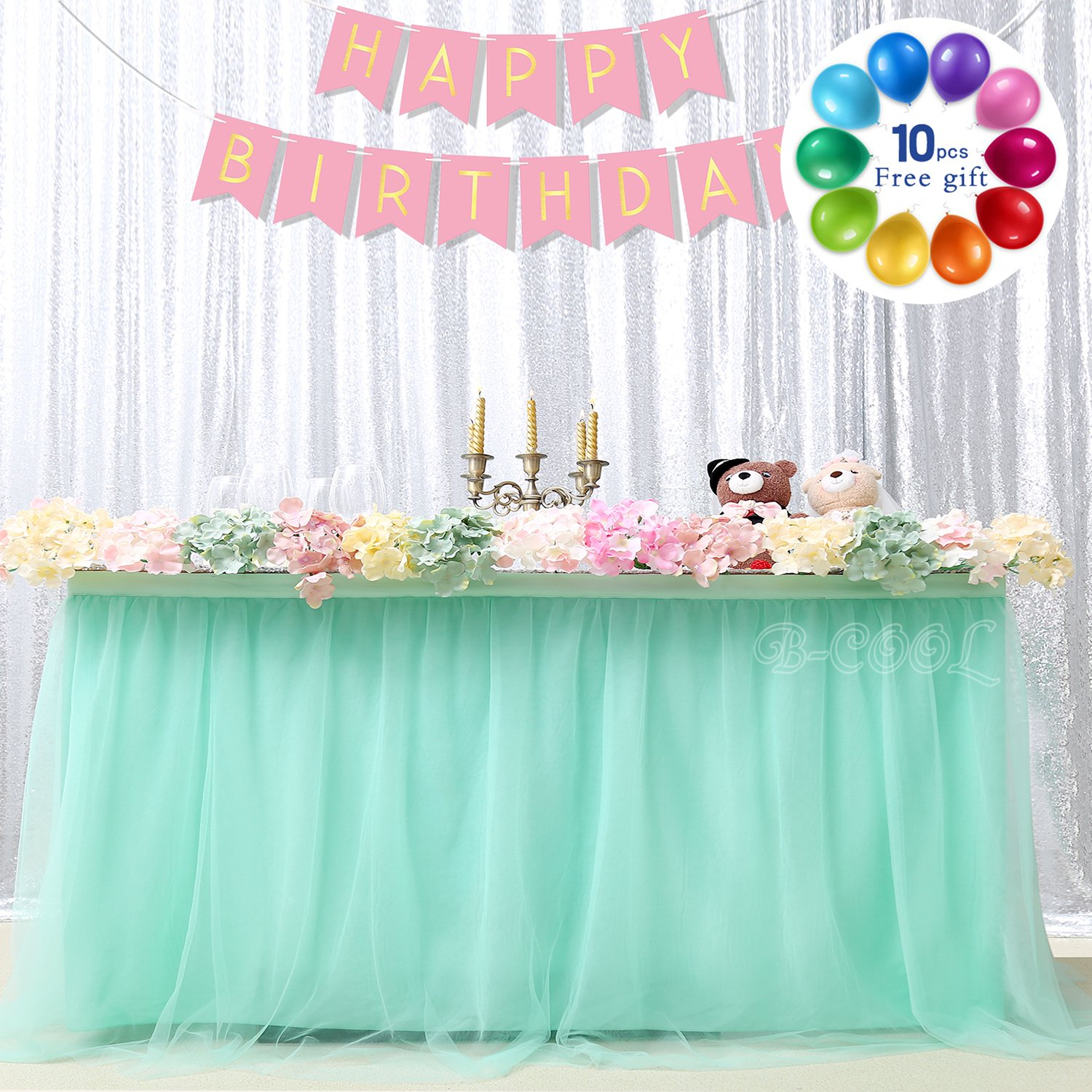 B-COOL Romantic Mint TUTU Table Skirt Tulle Tableware 3yards Fantastic Tutu Tablecloth Skirting For Wedding Christmas Baby Shower Birthday Cake Table Girl Princess Party Decor