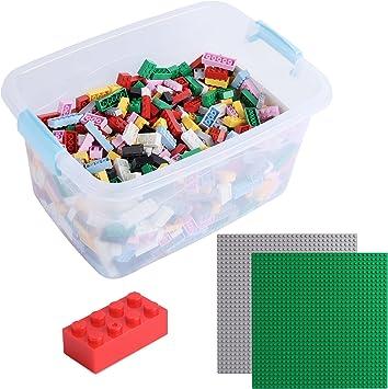 Katara Juego De 1264 Ladrillos Sueltos En Caja Con 2 Placas De Construcción 100% Compatibles Con Lego Classic, Sluban, Papimax, Q-bricks, Multicolor XL (1827) , color/modelo surtido: Amazon.es: Juguetes y juegos