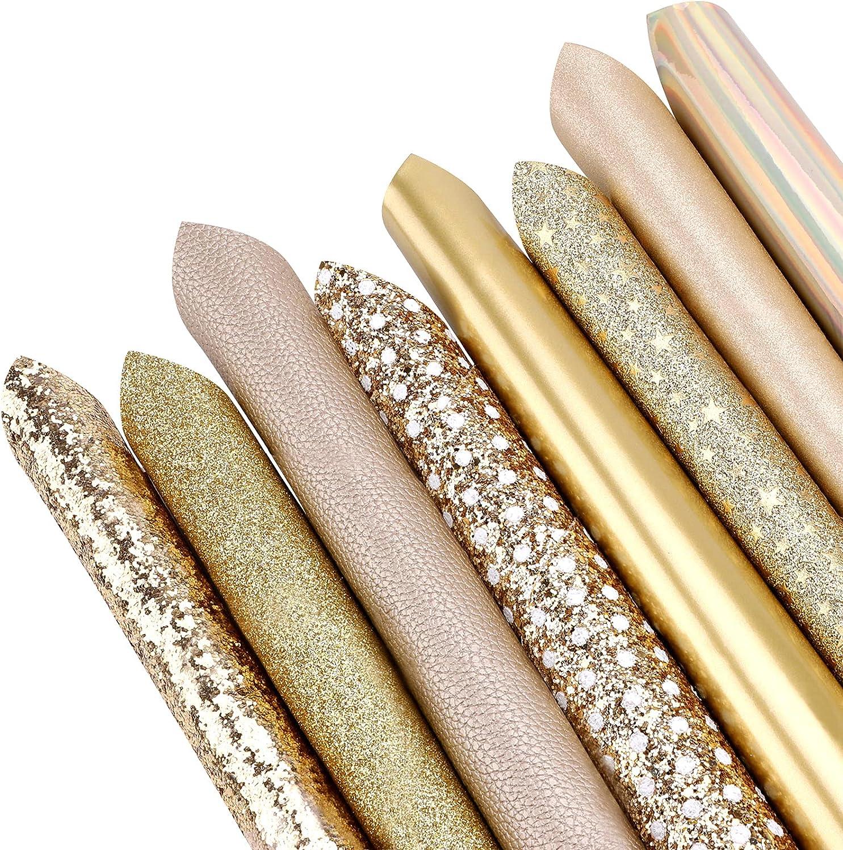 Hoja de tela de cuero brillante,Imitación de cuero sintético brillante,20x33cm hojas de cuero sintético de bricolaje coser joyería hacer pendientes lazos pinzas para el cabello 8pcs,gold