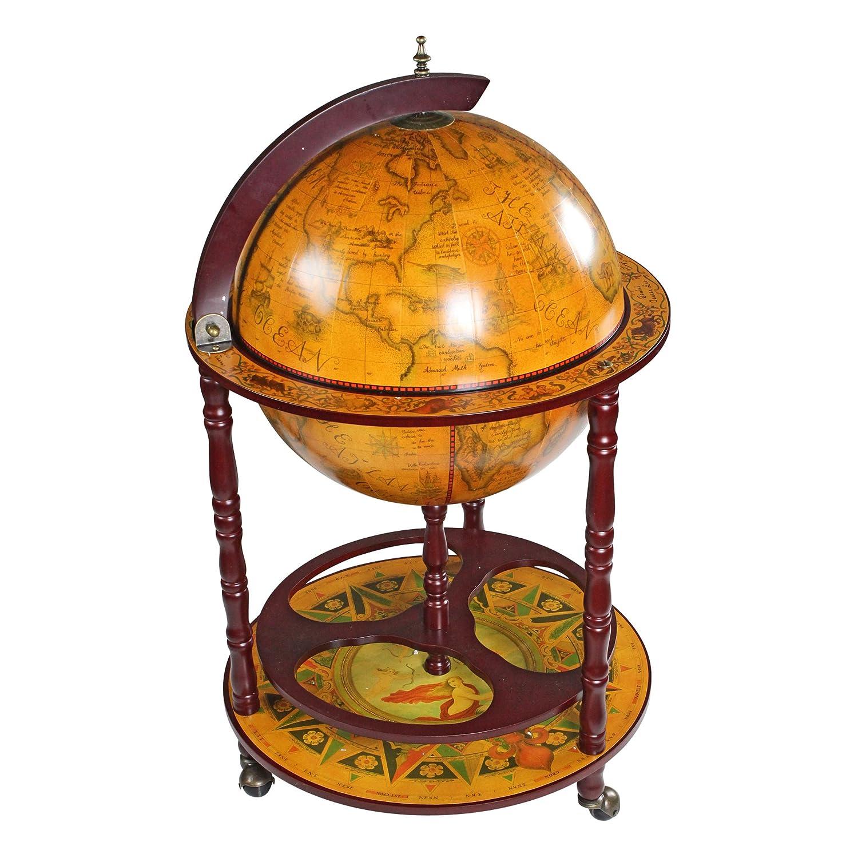 Design Toscano Sixteenth-Century Italian Replica Globe Bar Cart Cabinet on Wheels, 38 Inch, MDF Wood, Sepia Finish
