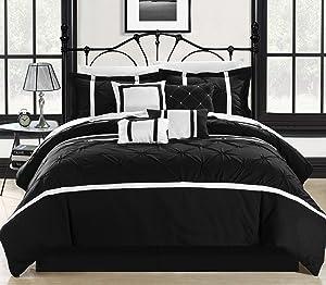 Chic Home Vermont White Comforter Set (8 Piece), Queen, Black