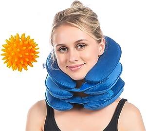Cervical Neck Traction, Neck Brace, Instant Neck Shoulder Pain Relief at Home, Adjustable Velvet Stretcher Collar w/Massage Ball Blue