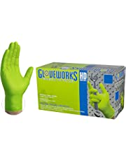 AMMEX Heavy Duty Green Nitrile 8 Mil Disposable Gloves - Extra Thick, Diamond Texture, Powder Free, Large, Box of 100