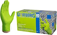 GLOVEWORKS HD Industrial Green Nitrile Gloves - 8 mil, Latex Free, Powder Free, Diamond Texture, Disposable, Heavy Duty, Larg