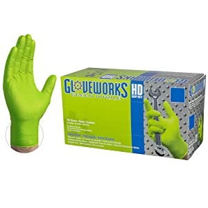 GLOVEWORKS HD Industrial Green Nitrile Gloves - 8 mil, Latex Free, Powder Free, Diamond Texture, Disposable, Heavy Duty, Medium, GWGN44100-BX, Box of 100