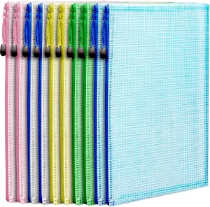 """10 Pack A4 Zipper Pouch File Bag, LEOBRO Durable Plastic Envelope File Folder, Document Folder, for Document, Stationery, Toys, Travel Items, Cosmetics, in 5 Assorted Colors, 13.1"""" x 9.2"""""""