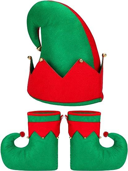 Santa Elf Traje Traje de la Novedad Elf Zapatos Elf Hat para ...