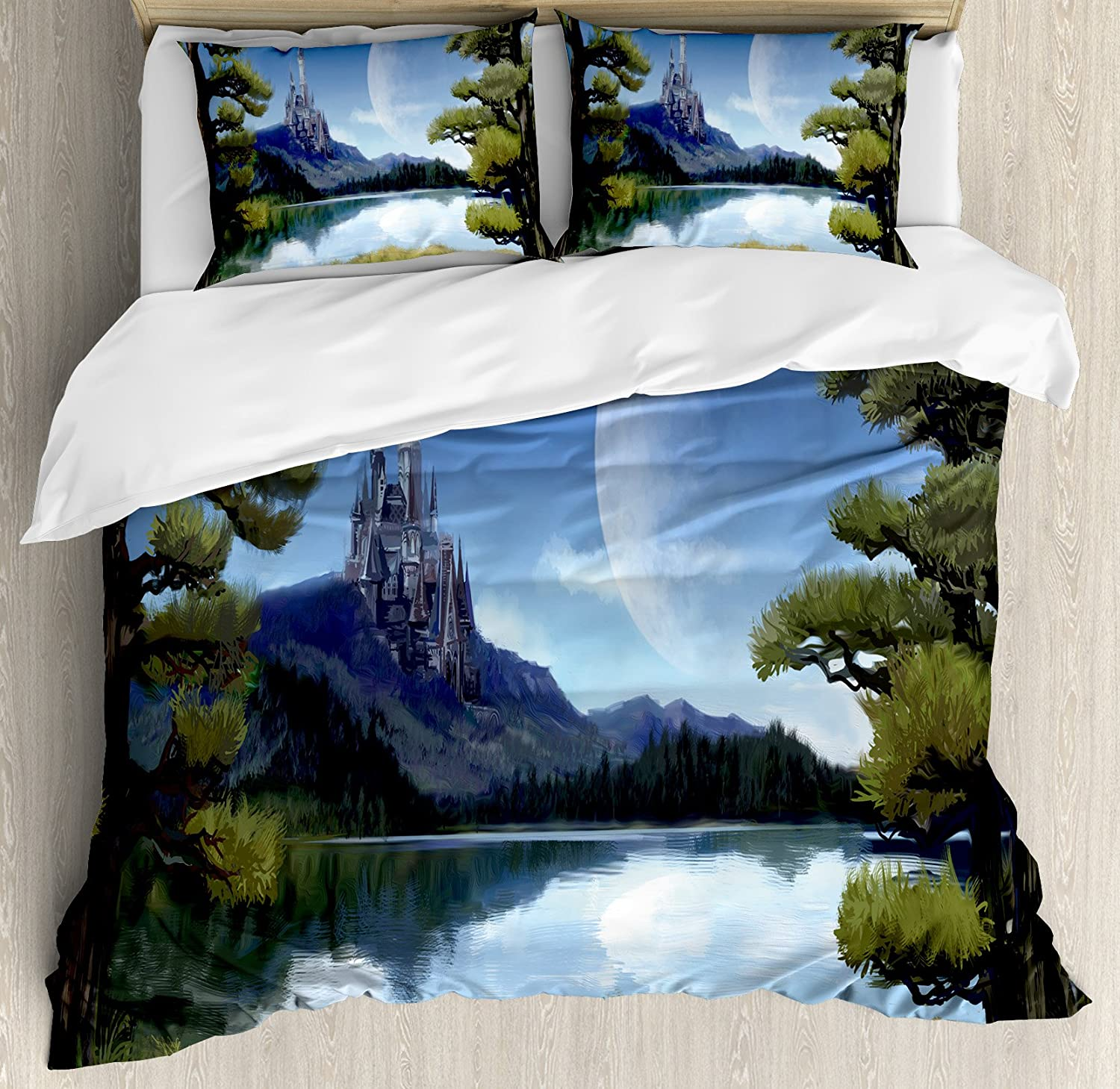 Ambesonne Fantasy Duvet Cover Set Moon Surreal Scene With Riverside Lake Forest And Medieval Castle On Hill Art Decorative 3 Piece Bedding Set With 2 Pillow Shams Queen Size Green And Blue Home Kitchen Amazon Com