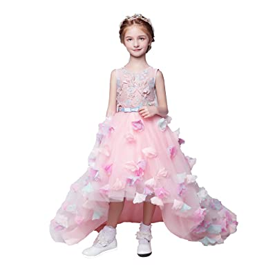 8fbfddeef Adela Tulle Hi-Lo Flower Girl Dresses For Wedding Princess Pageant Dress  With Butterfly Applique