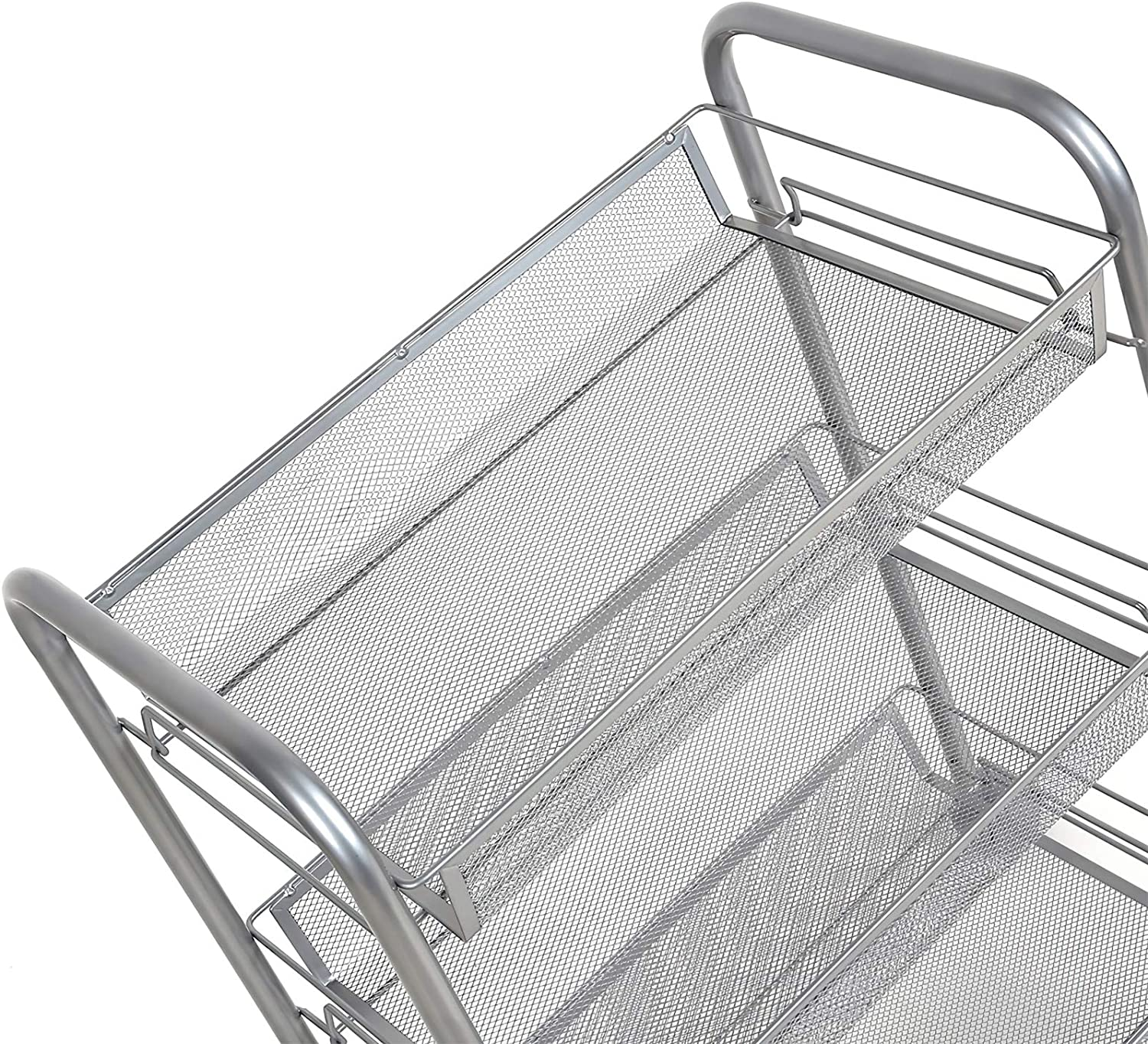 Homfa 3-Tier Mesh Wire Rolling Cart Multifunction Utility Cart Kitchen Storage Cart on Wheels, Steel Wire Basket Shelving Trolley,Easy Moving,Silver: Home & Kitchen