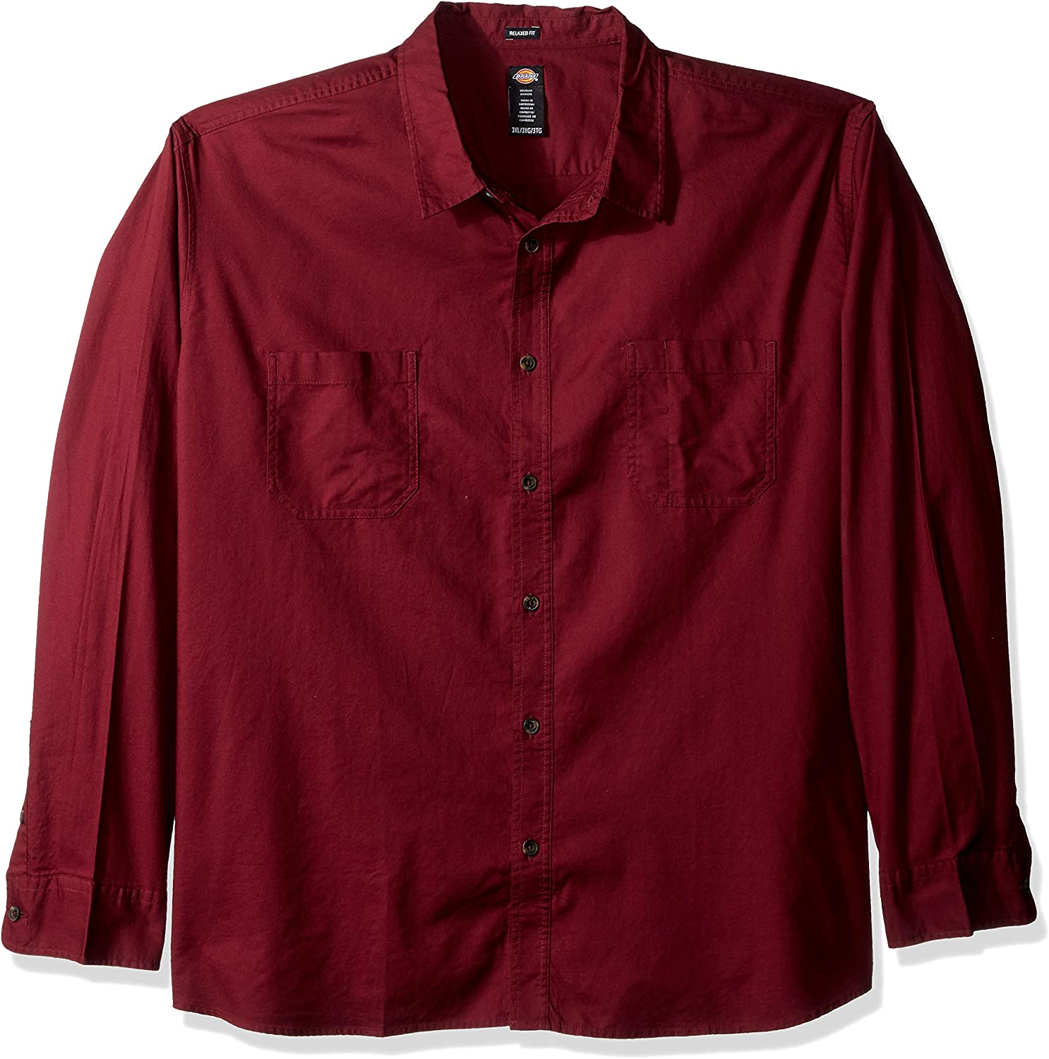 Dickies Mens Long Sleeve Relaxed Fit Solid Shirt Big-Tall