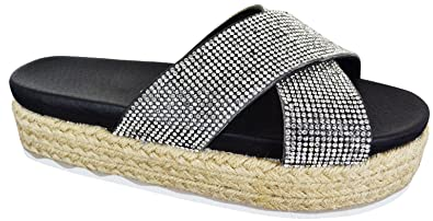 ac1755006732 Kelsi Womens Ladies Mule Diamante Crossover Chunky Platform Wedge Summer Fashion  Sandals Shoes Platform Diamante Trim Strap Platform Summer Beach Party ...