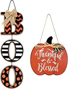 Boo Sign and Wood Pumpkin Thankful and Blessed Sign Harvest Fall Halloween Decoration Thanksgiving Hanging Wall Door Decoration