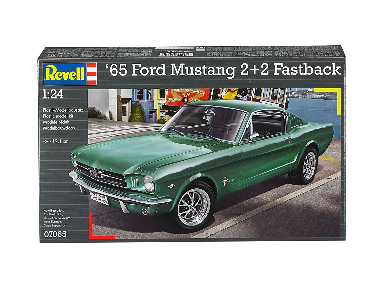 Amazon com revell germany 1965 ford mustang 2 2 fastback plastic model kit 1 25 scale toys games