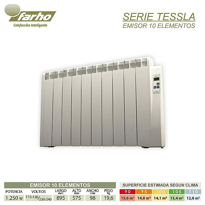 farho Radiadores Electricos Bajo Consumo Tessla + Ruedas • 1250 W • TERMOSTATO Digital Programable (7 días / 24 HR) • Radiador Electrico Ideal hasta 15,6 m2 ...