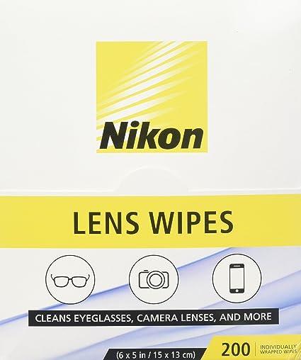 Nikon prehumedecidas lente toallitas de limpieza – limpia sin rayas para gafas y gafas de sol