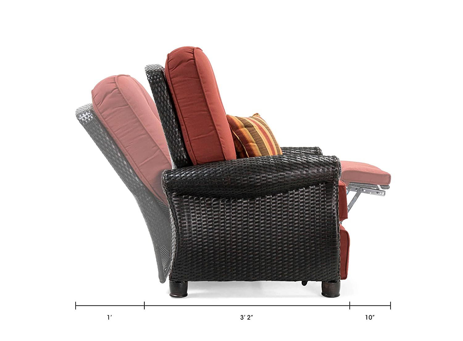 Brick Red La-Z-Boy Outdoor Breckenridge 3 Piece Resin Wicker Patio Furniture Set 2 Recliners and Side Table with All Weather Sunbrella Cushions