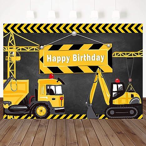 Mehofoto Happy Birthday Background Construction Theme Backdrop Yellow Digger Trucks Backdrops 7X5ft Vinyl Boys Party Decoration