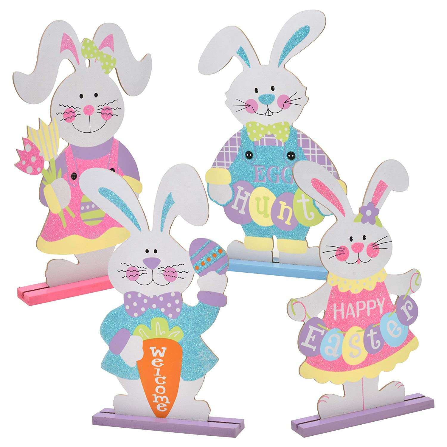 Gift Boutique 4 Easter Table Decor Centerpieces Bunny Decorations Spring Bunny Centerpiece Sculptures Statues Figurines for Home Outdoor Garden Yard Lawn and Patio Party Favors