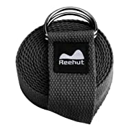 REEHUT Yoga Strap (6ft, 8ft, 10ft) w/Adjustable D-Ring Buckle - Durable Polyester Cotton Exercise Straps for Stretching, General Fitness, Flexibility and Physical Therapy