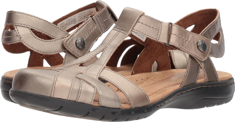 M US Rockport Cobb Hill Collection Ch Penfield T Sandal Rockport Womens Cobb Hill Penfield T-Strap Sandal Platinum 7.5 B