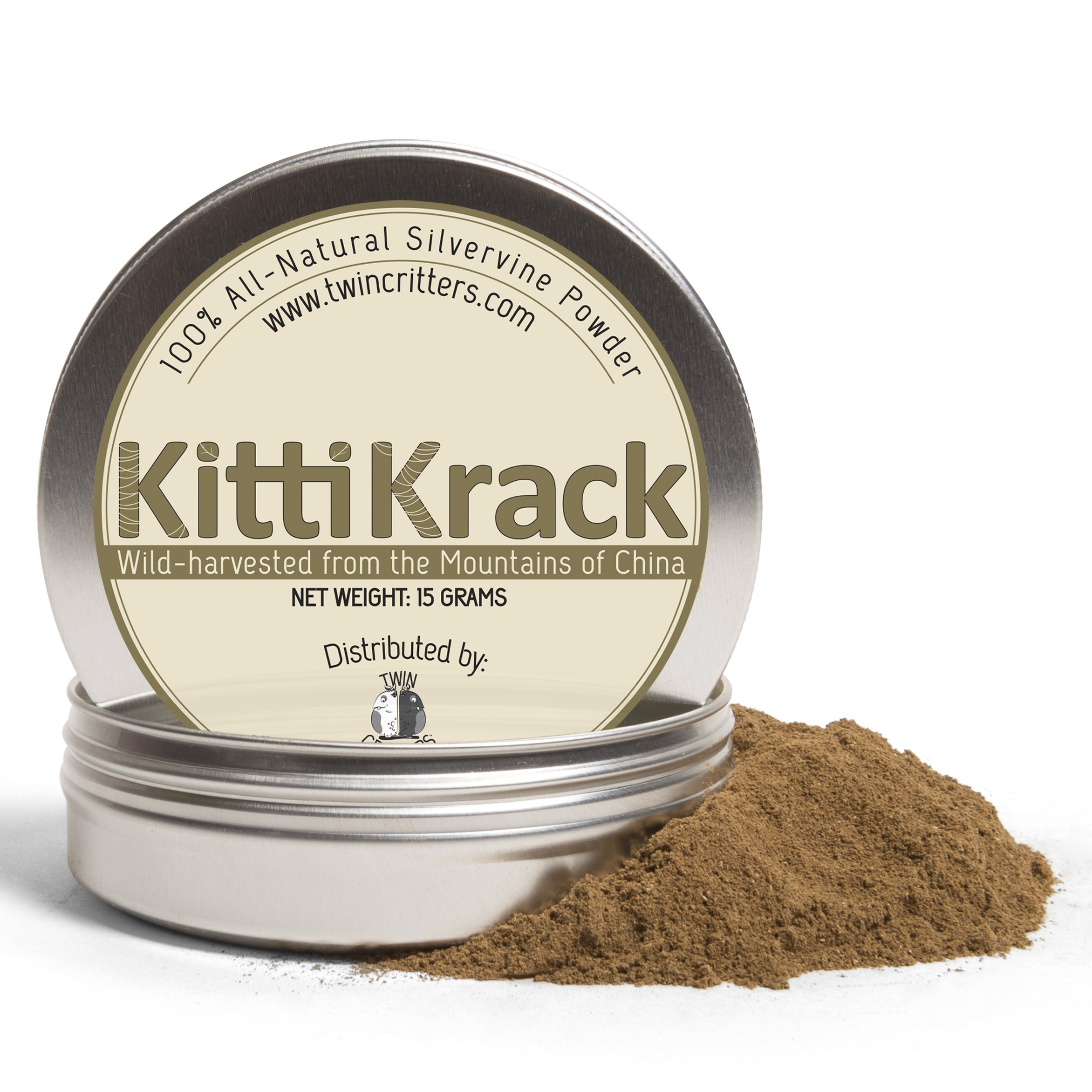 KittiKrack: Organic Silver Vine Catnip For Cats & Kittens By Twin Critters | 100%, All-Natural Silvervine Powder (15 grams)| Wild Harvested With No Additives Or Preservatives