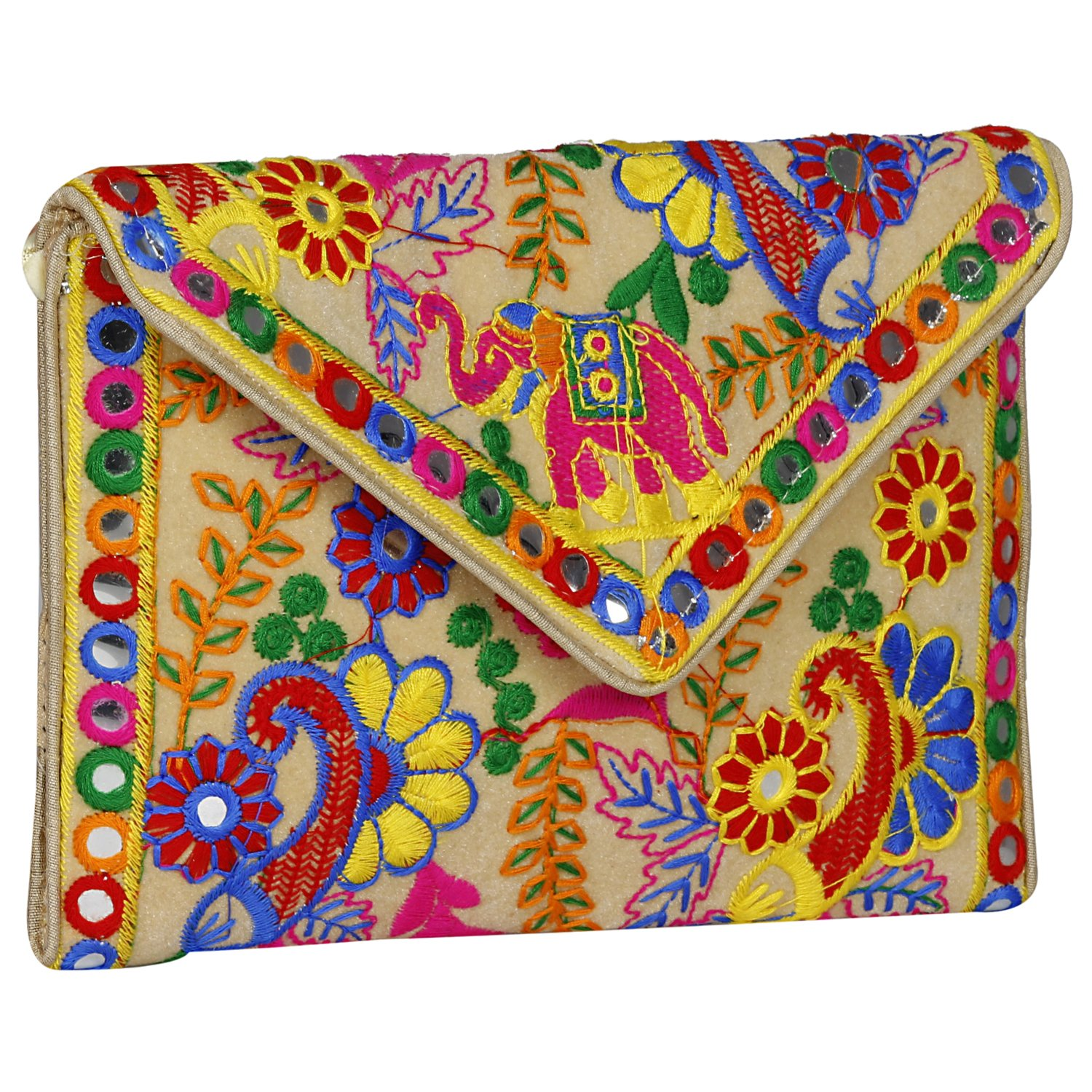 Aaditri International Elephant Printed- Jaipuri Art Sling Bag- Easy to Carry- Zipper Closure Fold Over Clutch Purse Long Strap