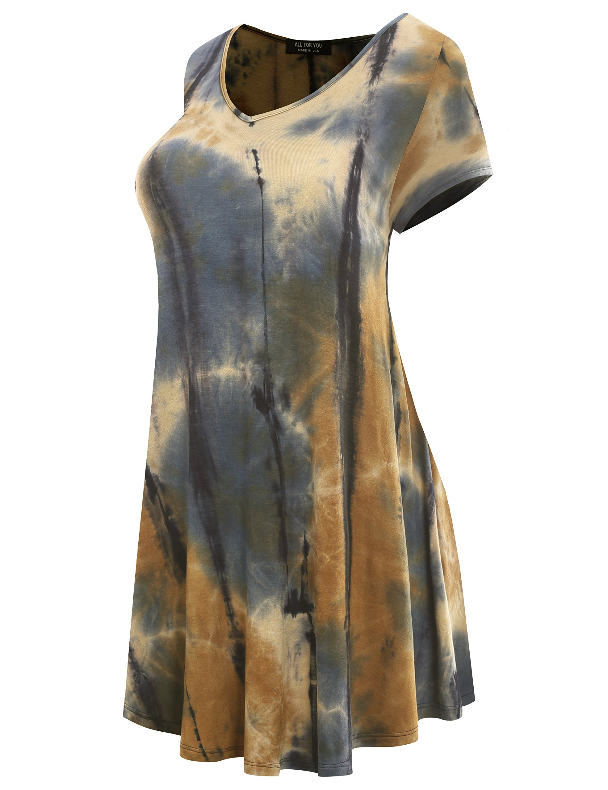 All for You Women's Short Sleeve V-Neck Flare Hem Floral Print Tunic Tie-Dye Taupe 2 X-Large by A.F.Y (Image #2)