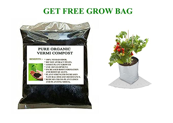 Elamgreen Organic Vermi Compost for Plants Enriched with Neem and Grow Bag for Plants, 1 Kg