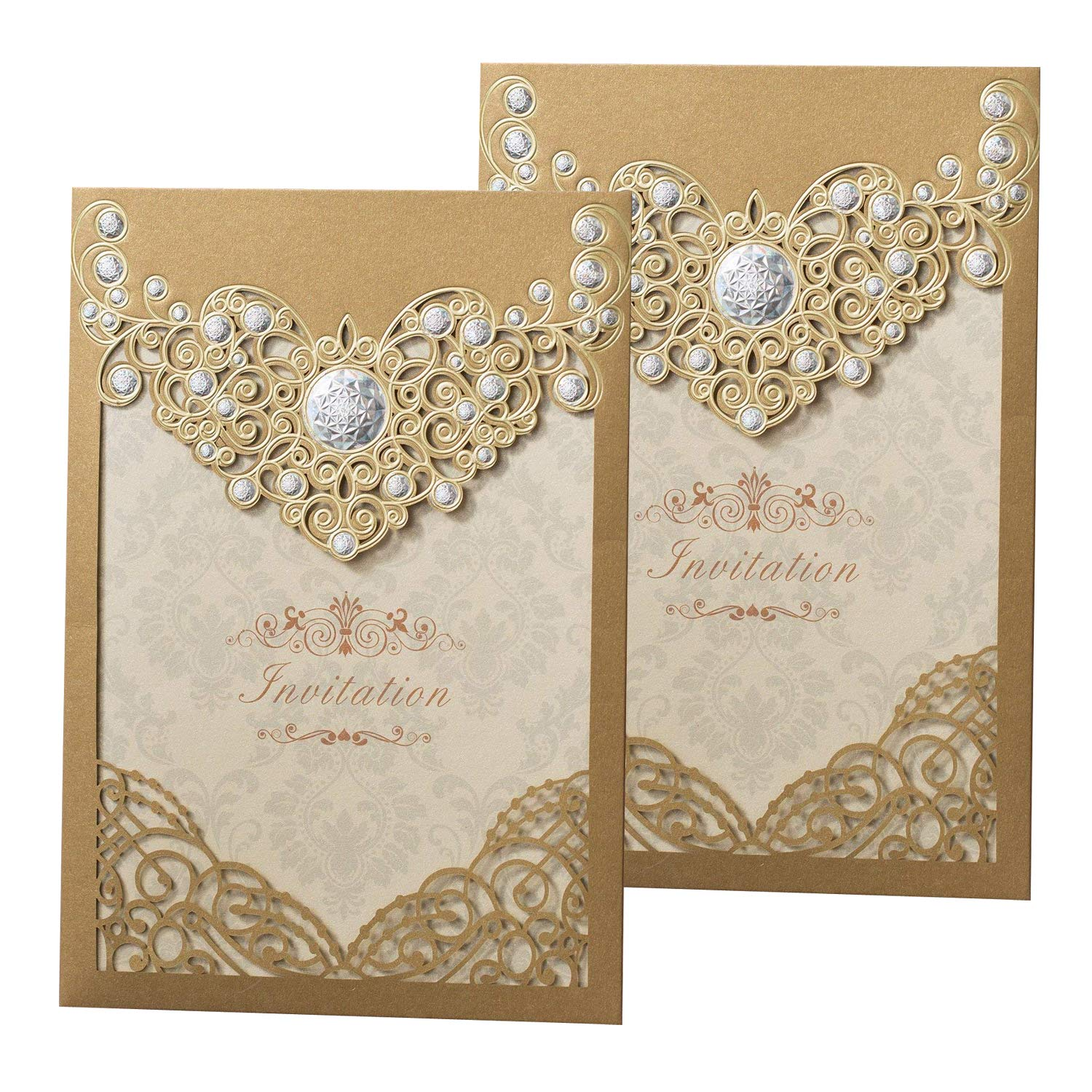 Wedding Invition Cards.50pcs Laser Cut Bronzing Wedding Invitation Cards Hollow Favors Invitation Cardstock For Engagement
