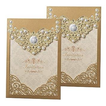 50PCS Laser Cut Bronzing Wedding Invitation Cards Hollow Favors Cardstock For Engagement Birthday Graduation Baby