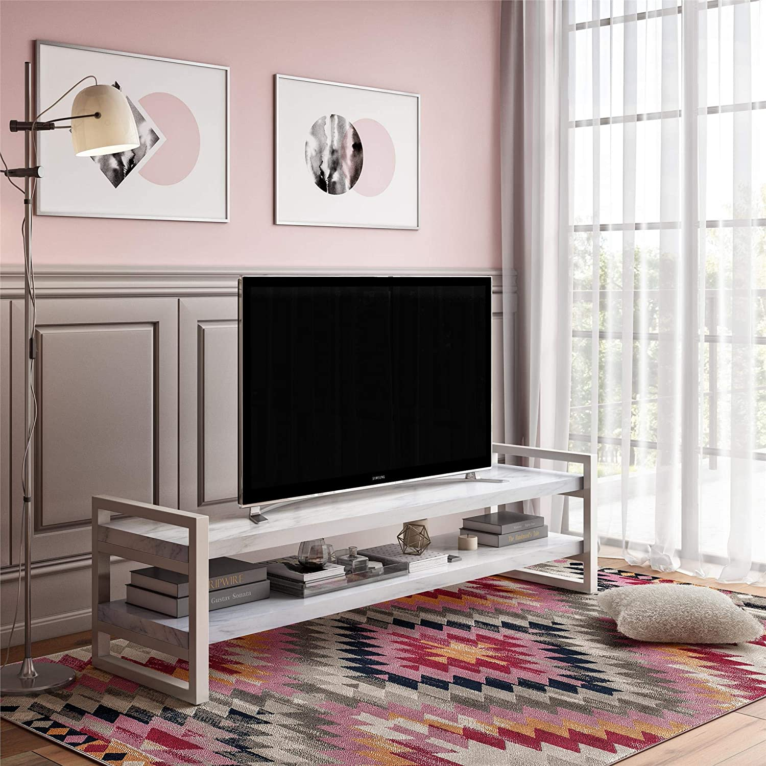 CosmoLiving Coco TV Stand for TVs up to 65 , White Marble